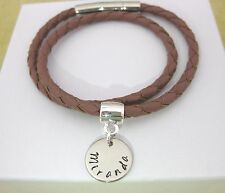 Double Wrap Name Bracelet Man's Ladies Brown/Pink Personalised Leather 4mm  Box