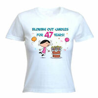 BLOWING OUT CANDLES FOR 47 YEARS 47TH BIRTHDAY T-SHIRT - Gift Present -Size S-XL