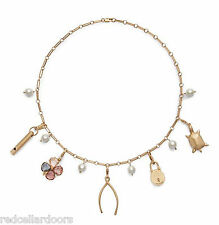 Auth NEW Stunning Tory Burch Charm Short Necklace Lucky Charms Wishbone Rtl $250
