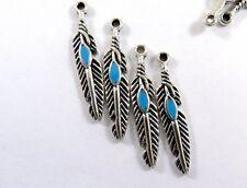 10 x  Tibetan Silver Feather Charms Jewellery Making