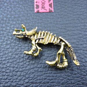 Gold Alloy Enamel Crystal Triceratops Dinosaur Bone Betsey Johnson Brooch Pin
