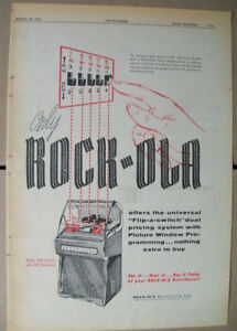 Rock-ola 200 Selections model 1455 DeLuxe phonograph 1957 Ad- flip-a-switch