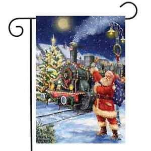 "Polar Express Christmas Garden Flag Santa Claus Train 12.5"" x 18"" Briarwood Lane"