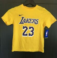 LA LAKERS T-SHIRT, 23 LEBRON JAMES, YOUTH SIZE LARGE, THE NIKE TEE, YELLOW, NWT