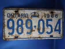 ONTARIO LICENSE PLATE 1966 989054 CROWN VINTAGE CAR SHOP GARAGE  SIGN COLLECTOR