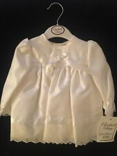 BABY GIRLS WHITE CHRISTENING/BAPTISM/WEDDING DRESS. MADE IN ENGLAND. 3/6M.
