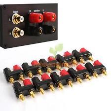 10Pcs Dual Gold Speaker Binding Posts Terminal - 4mm Sockets - 2 Way Banana Plug
