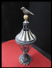 MACKENZIE CHILDS COURTLY CHECK METAL LANTERN CANDLE HOLDER BIRD ON BALL 24""