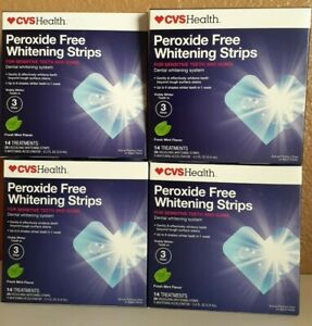 4X CVS Peroxide-Free Whitening Mint Strips Sensitive 14 Treatment (28 Strip)Each