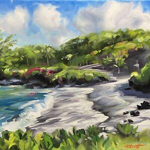 "Abbott Oil Stretched Canvas 12""x16"" Amazing Hawaii's Black Sand Punalu'u Beach"