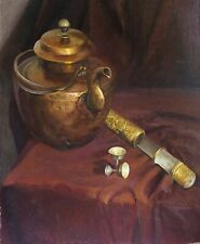 Fine oil painting on canvas - Tibetan kettle and dagger