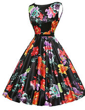 Ladies Dress A-Line Vintage Style Dress Black with Colour Flowers Sz 2XL BNWT