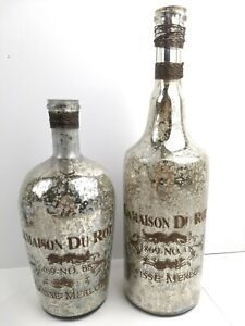 "Mercury Glass style Etched Bottle french words ""LaMaison Du Rot, Cause Merlot"""
