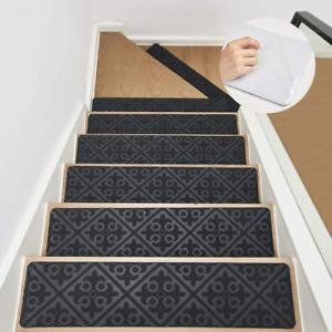"""8""""X32"""" Stair Treads Carpet Non Slip Indoor Set Of 13 Gray Carpet Stair Runner"""