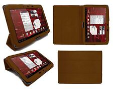 New Motorola Xoom Tablet Leather Folio Case Brown Cover With Stand