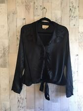 Alberto Makali Black Silk Blouse With Tie Front Size Large