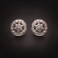 Pave 1.09 Cts Round Brilliant Cut Diamonds Stud Earrings In Fine 18K Yellow Gold