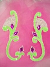0034 ~ LIME GREEN BEADED SEQUIN APPLIQUES MIRROR PAIR