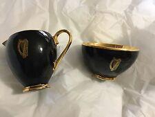 VINTAGE Arklow Pottery Black w/ Gilt Gold Lining Celtic Harp Creamer & Sugar Bwl