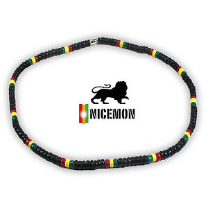 "Rasta Coconut Beads Necklace Choker Coco Beads Marley Reggae 18"" or 46 cm 3-4ml"