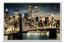 Manhattan Poster Night Lights Silver Framed Ready To Hang Frame Free P&P