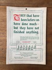 ANTIQUE FEBRUARY 1919 CALENDAR OSBOLDSTONE & CO MELBOURNE PRINTER VINTAGE