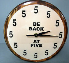 New Be Back At Five Funny Round Wall Clock Unique Clocks