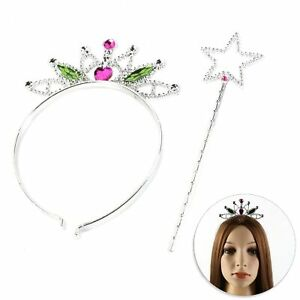 PRINCESS WAND & TIARA Plastic Girls Fairy Tale Queen Crown Fancy Dress Up Set