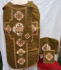 French Set Chasuble Green Damask Silk Needle Point Stole Burse Cover Chalice
