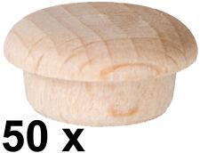 50 x Abdeckkappe Kappe aus Buchenholz unlackiert Stift 13,9/14,3 mm Kopf 18 mm