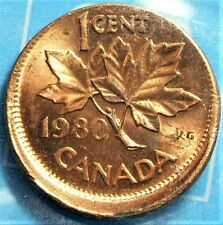 1980 Canada Cent Error CCCS Red Off Center MS63 KM#127 #11857