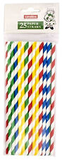 25 Paper Straws Multi Coloured Party Straws