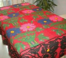 Antique WOOL Handmade Heavy Embroidery Blanket Multi-Color Flowers RED