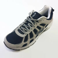 Men's FILA Athletic Shoes Leather White Gray Navy 1SG30052-463 Size 15