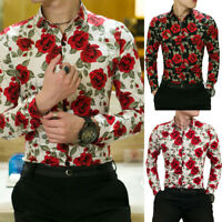 EP_ Fashion Casual Floral Print Button Down Long Sleeve Men's Shirt Slim Fit Top