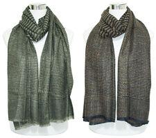Womens Lady Winter Warm Stripes Check Neck Shawl Scarf Wrap Stole Plaid Pashmina
