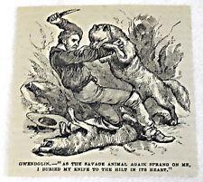 small 1882 magazine engraving ~ Wolves Vs. Man W/ Knife