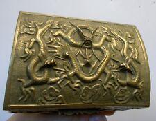 Antique CHINESE BRASS Bronze DRAGON Trinket Humidor BOX QING REPUBLIC