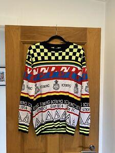 BNWT Men's ICEBERG A1 MAGLIA GIROCOLLO Graphic Sweater Jumper Size S