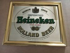Imported Heineken 'Special Holland Beer' Framed Bar Mirror Gold Metal Frame