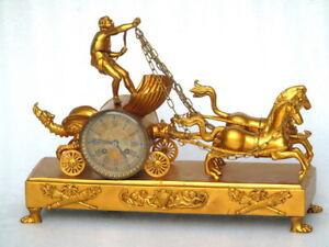 A LARGE 49CM ANTIQUE JAPY FRERES GOLDEN CHARIOT MECHANICAL DESKTOP MANTLE CLOCK