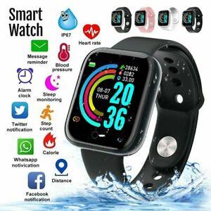 Smart Watch Y68 Waterproof Blood Pressure Heart Rate Alarm Fitness Wristband US