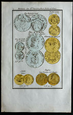 1830 - Gravure numismatique : Monnaies des Etats Romains,deux Siciles,Gênes