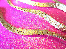 Large Gold Square Herringbone Necklace 28 Inches Long