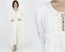 Vintage 70s Gunne Sax Ivory Crochet Floral Lace Corset Boho Wedding Maxi Dress S