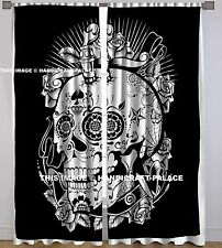 Head of Skull Print Bed Room Wall Curtain Cotton Panel Fabric Indian Curtains