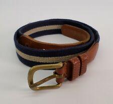 Coach Linen Surcingle Belt 30 Navy Blue White 3822 Vtg