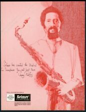 1975 Sonny Rollins portrait Selmer Mark VI saxophone sax vintage print ad