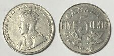1922 NS ~ CANADA ~ 5 CENTS ~ GEORGE V ~ First large nickel ~ VG8 condition