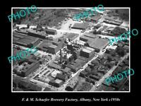 OLD LARGE HISTORIC PHOTO OF F&M SCHAEFER BREWERY FACTORY ALBANY NEW YORK c1950